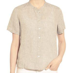 Eileen Fisher Oatmeal Linen Short Sleeve Button Up